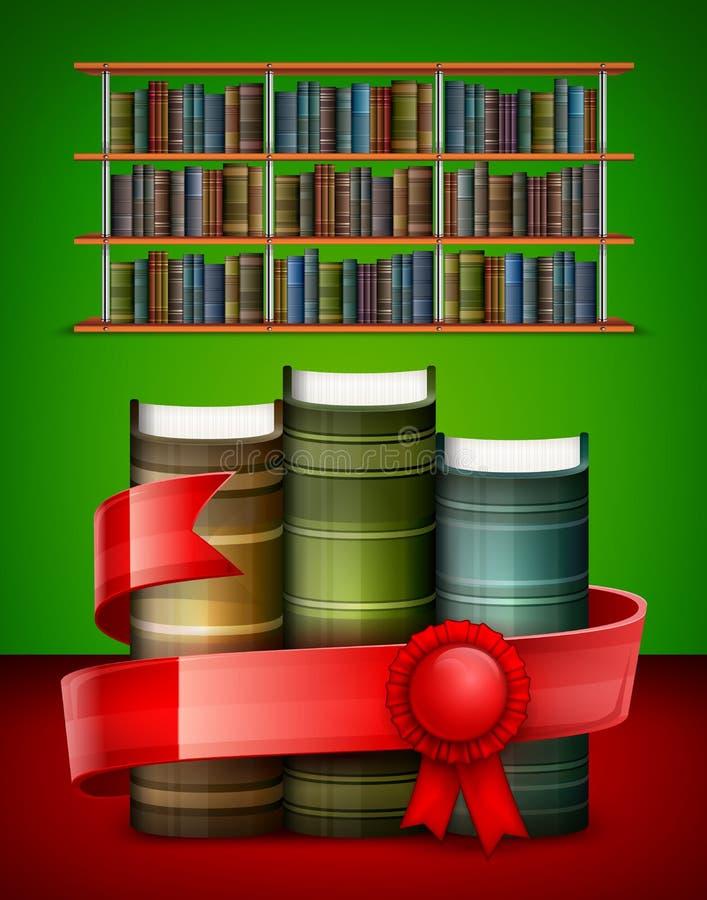 Стог книг на цвете иллюстрация вектора