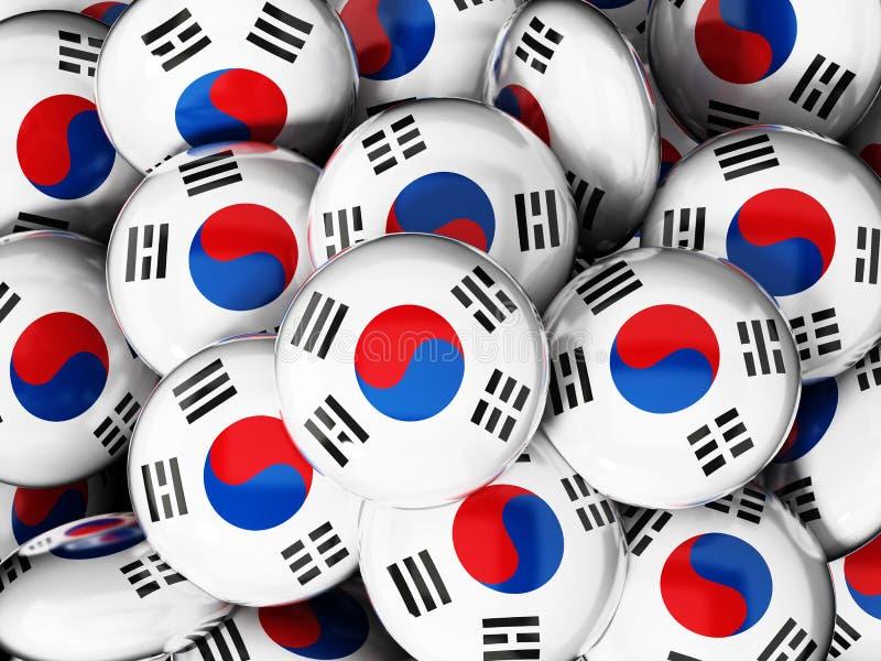 Стог кнопок с флагом Южной Кореи иллюстрация 3d иллюстрация штока