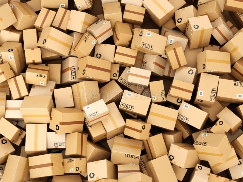 Стог коробок или пакетов поставки картона andh кладет пакгауз в коробку ручной тележки принципиальной схемы carboard иллюстрация вектора