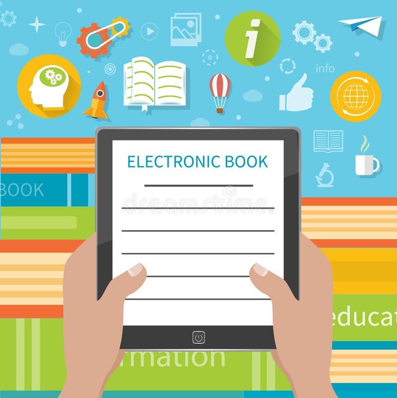 Стог красочных книг с электронной книгой иллюстрация вектора