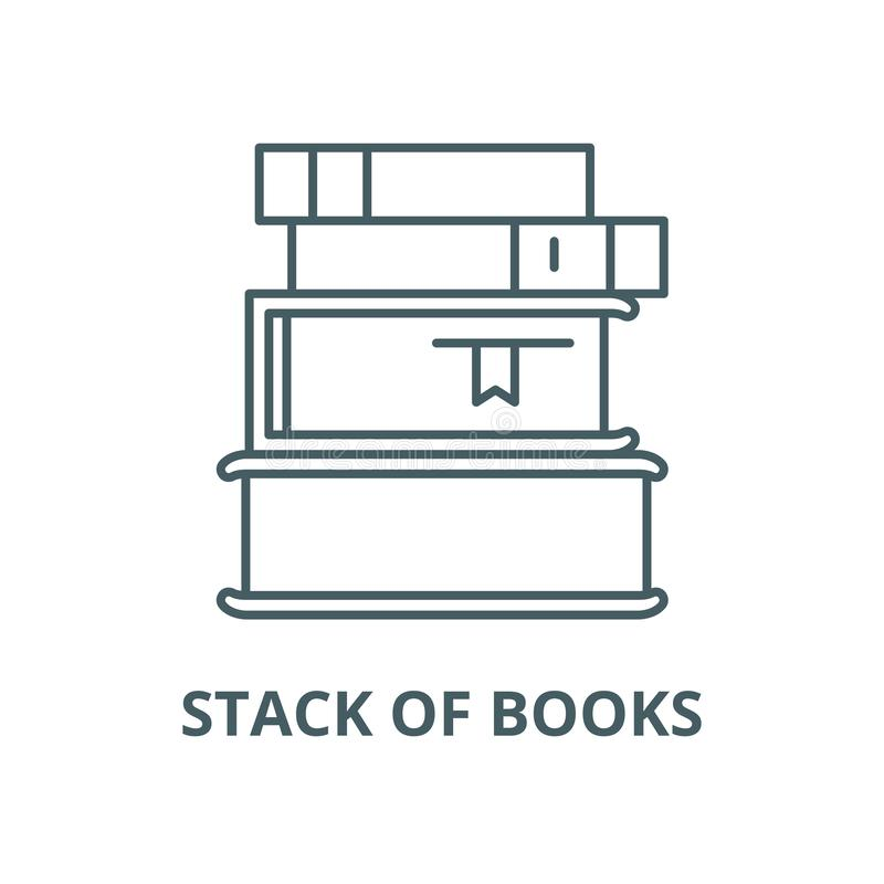 Стог линии значка вектора книг, линейной концепции, знака плана, символа иллюстрация вектора