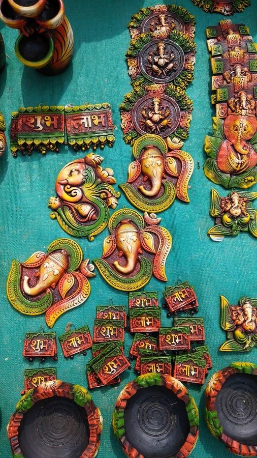 Стог лорда Ganesha смертной казни через повешение стены декоративного для Fetival стоковое фото rf