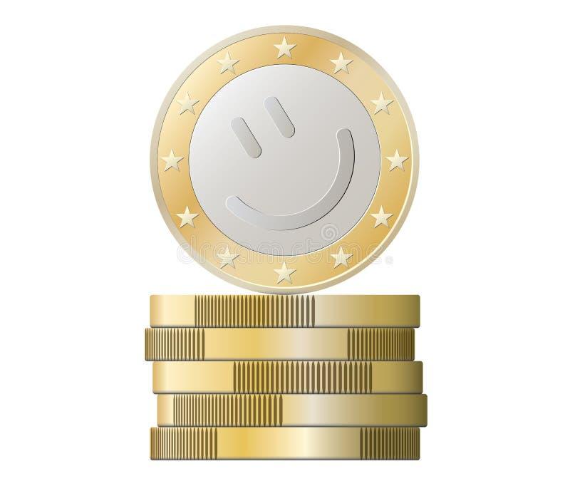 Стог монеток евро с улыбкой иллюстрация вектора