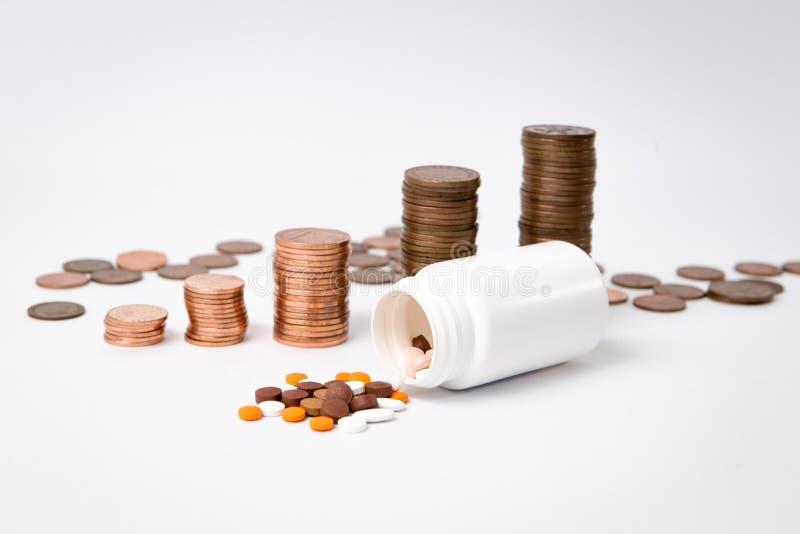 Стог монеток за белой коробкой лекарства с некоторой расслоиной лекарства на белой предпосылке стоковые фотографии rf