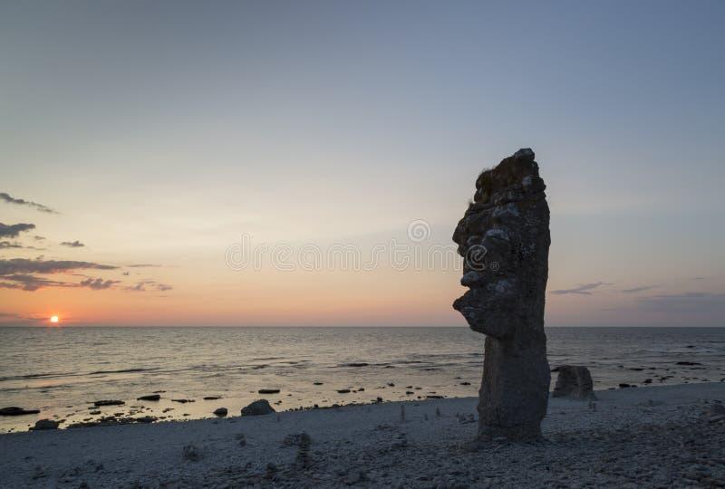 Стог моря на Langhammar, Готланде в Швеции стоковое фото rf