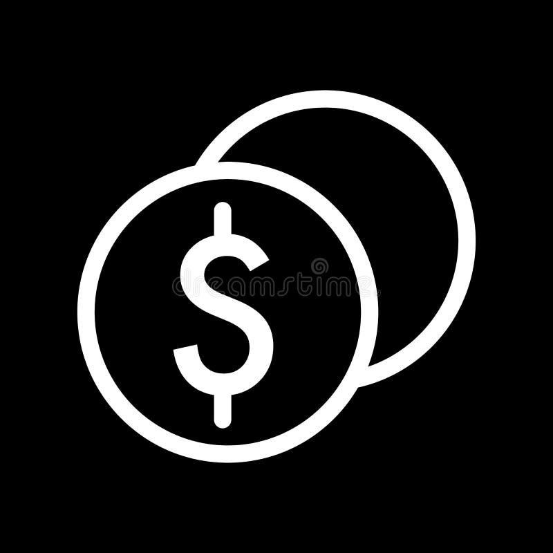Стог доллара чеканит значок вектора Черно-белая иллюстрация наличных денег Значок денег плана линейный бесплатная иллюстрация
