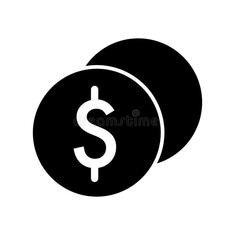 Стог доллара чеканит значок вектора Черно-белая иллюстрация наличных денег Твердый линейный значок денег иллюстрация вектора