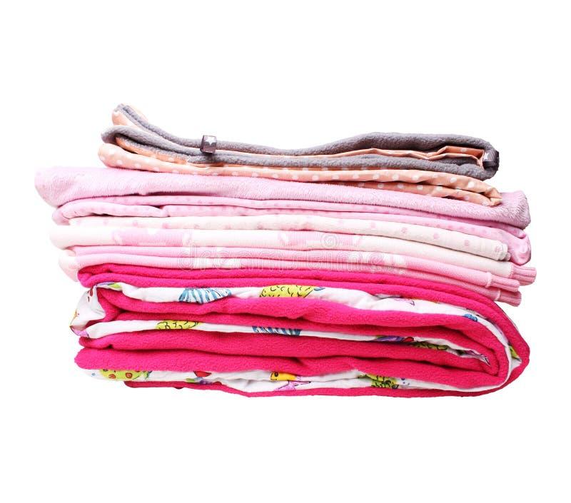 Стог одеял пинка для ребёнка стоковые изображения rf