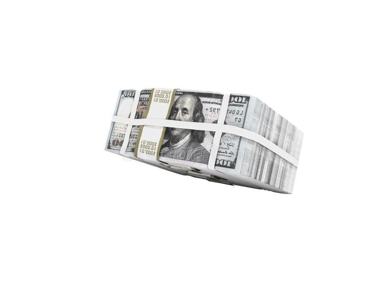 Стог пакета долларов падая на половинное 3d для того чтобы не представить на белой предпосылке никакую тень бесплатная иллюстрация