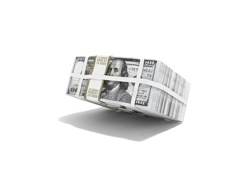 Стог пакета долларов падая на половинное 3d для того чтобы представить на белой предпосылке с тенью иллюстрация штока