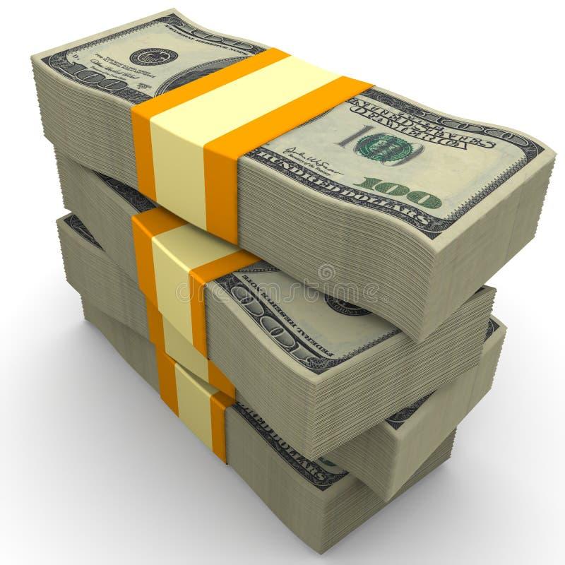 Стог пакетов 100 счетов американца доллара иллюстрация штока
