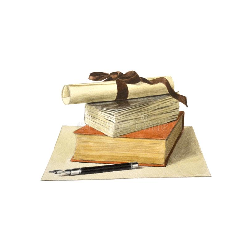 Стог покрашенных книг, переченя бумаги и авторучки иллюстрация вектора