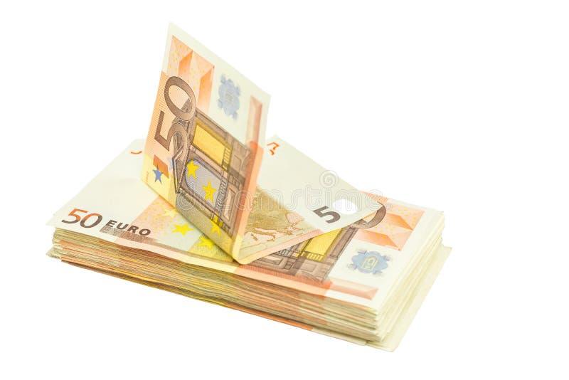 Стог примечаний евро на белой предпосылке стоковые изображения rf