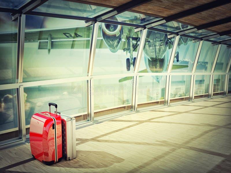 Стог путешествовать багаж в крупном аэропорте иллюстрация вектора