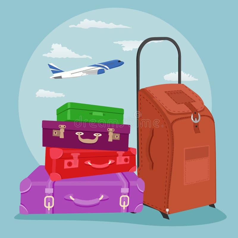 Стог путешествовать багаж с чемоданом над самолетом в небе бесплатная иллюстрация