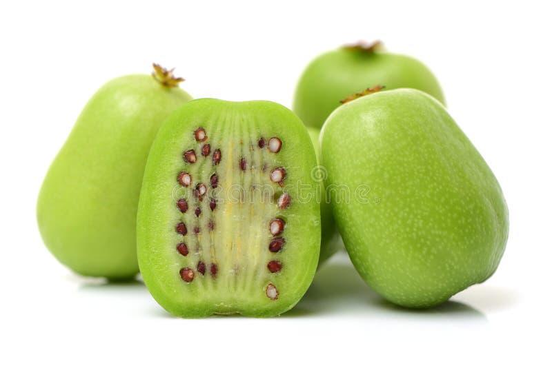 Стог серии целого 2 половины свежего зеленого мини плода кивиа младенца стоковое фото rf