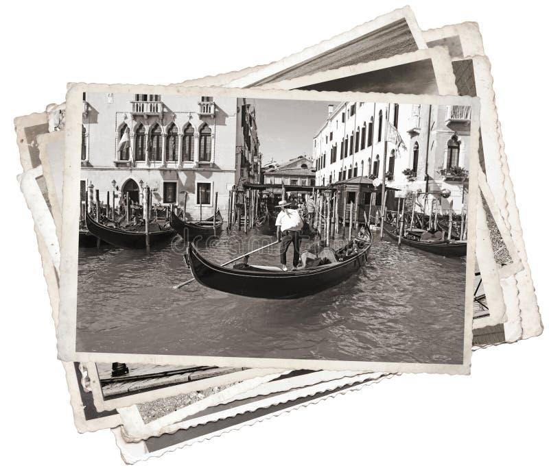 Стог старых винтажных фото в Венеции стоковое фото