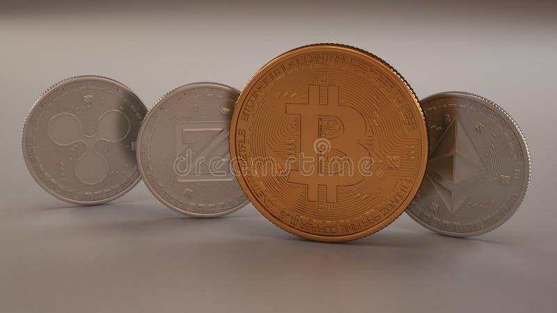 Стог cryptocurrencies на белой предпосылке, монетках платины физических, пульсации, Zcoin, Etherium и золотом Bitcoin Cryptoc мин стоковые изображения rf