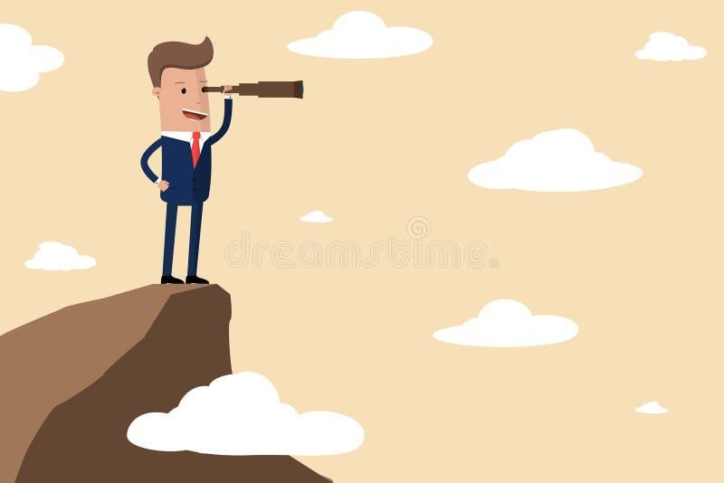 Стойка бизнесмена на горе края скалы используя телескоп ища успех, возможности, будущее дело отклоняет Concep зрения иллюстрация штока