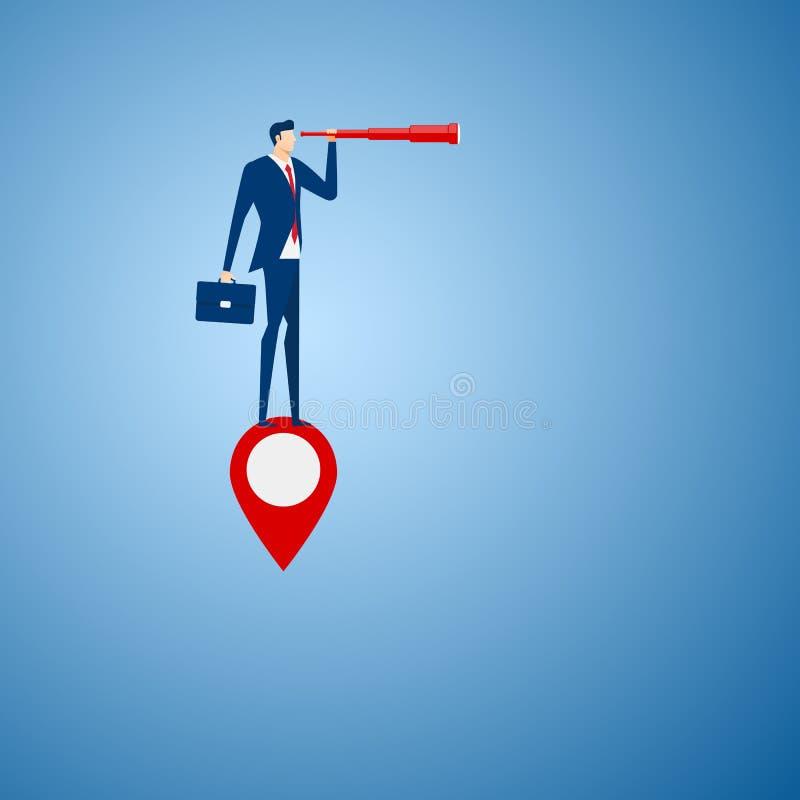 Стойка бизнесмена на указателе карты используя телескоп ища успех, возможности, будущее дело отклоняет рука принципиальной схемы  бесплатная иллюстрация