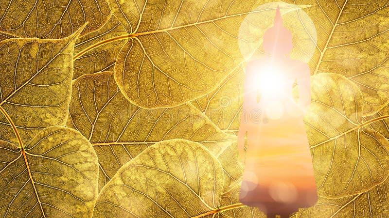 Стойка Будды на двойной экспозиции или silhou предпосылки boleaf золота стоковое фото rf