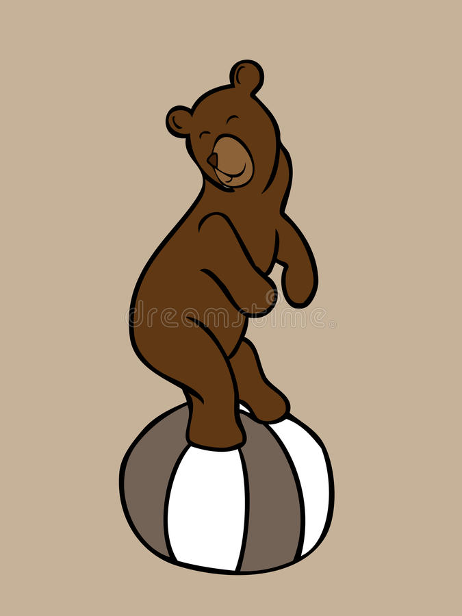 Download Стойка бурого медведя на большом шарике Иллюстрация вектора - иллюстрации насчитывающей ангстрома, предмет: 40590901