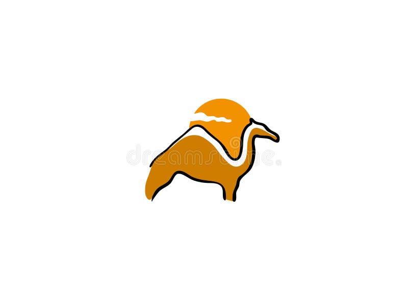 Стойка и солнце верблюда в предпосылке для логотипа иллюстрация вектора