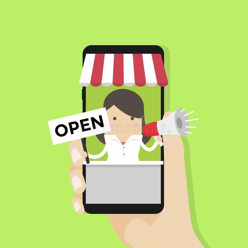 Стойка коммерсантки в большом smartphone с знаком онлайн магазина открытым бесплатная иллюстрация