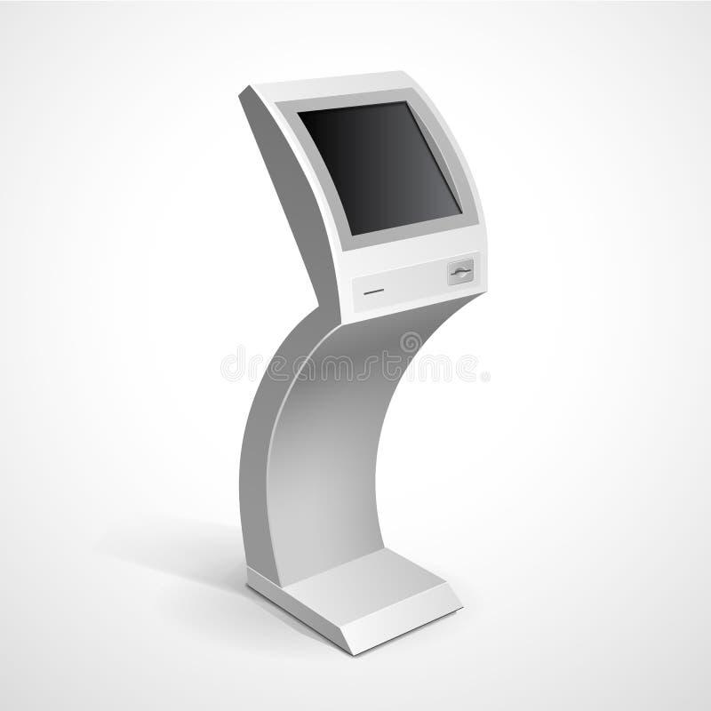 Стойка монитора информационного дисплея терминальная иллюстрация штока