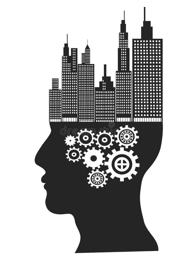 Стойка небоскребов на человеческой голове иллюстрация вектора
