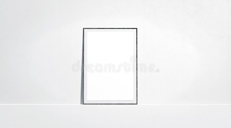 Стойка пустой насмешки плаката белой бумаги поднимающая вверх на стене галереи стоковые изображения