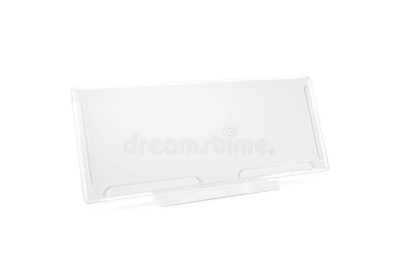 Стойка пластичной бумажной насмешки держателя поднимающая вверх на изолированном столе Nameplate g стоковое фото