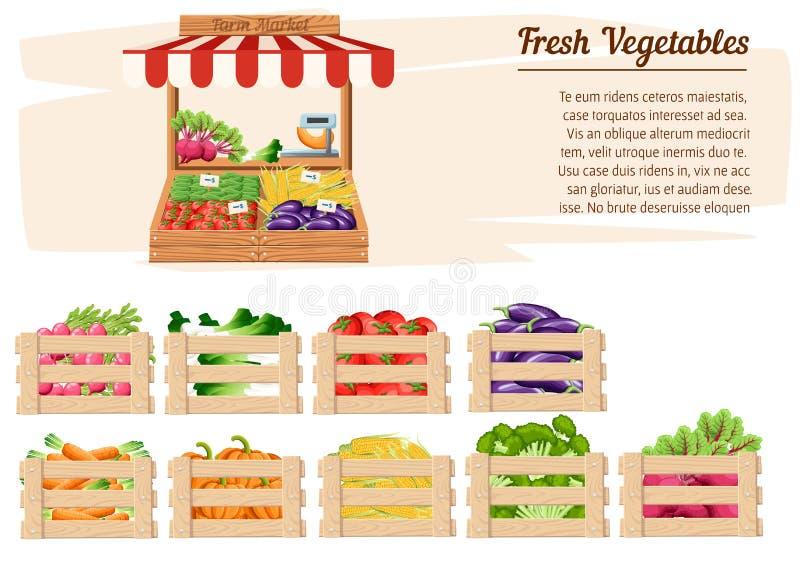 Стойка рынка вид спереди деревянная с едой и овощами фермы в открытой коробке с весами и ценники с местом для вашего текста бесплатная иллюстрация