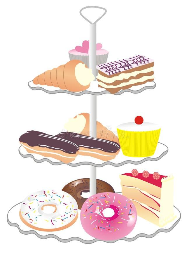стойка торта иллюстрация вектора