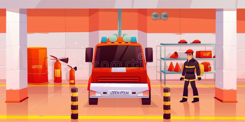 Стойка человека пожарного около пожарной машины в гараже иллюстрация вектора