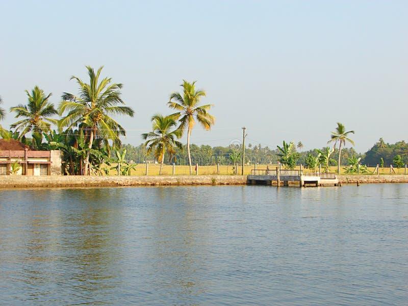 Стойка шлюпки в канале подпора, Керале, Индии стоковое изображение rf