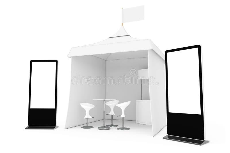 Стойка экрана LCD торговой выставки около выдвиженческой рекламы внешней иллюстрация вектора