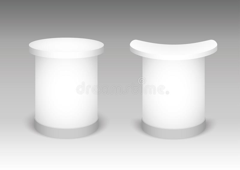 Стойка экспо на белой предпосылке Насмешка вверх по шаблону для вашего дизайна также вектор иллюстрации притяжки corel иллюстрация штока