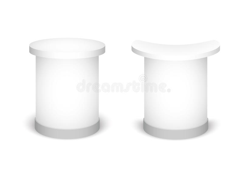 Стойка экспо на белой предпосылке Насмешка вверх по шаблону для вашего дизайна также вектор иллюстрации притяжки corel бесплатная иллюстрация