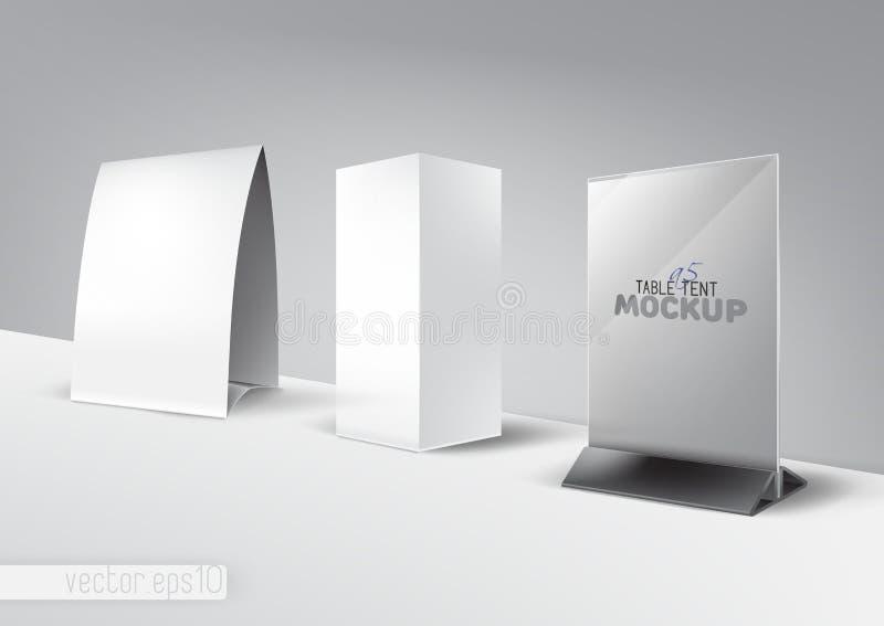 Стойка tabe шатра таблицы, меню, карточка, рекламируя комплект модель-макета иллюстрация вектора