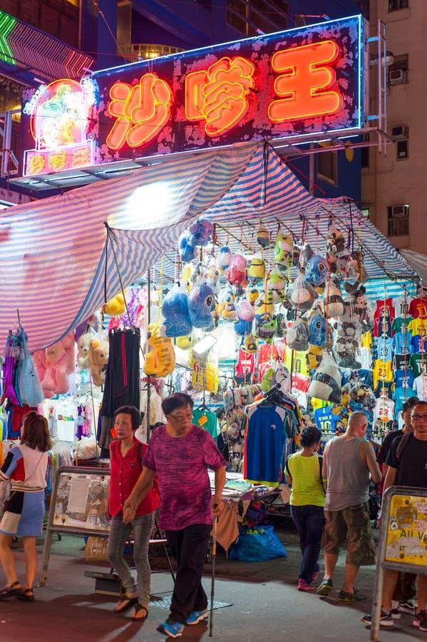 Стойл рынка ночи Гонконга стоковая фотография