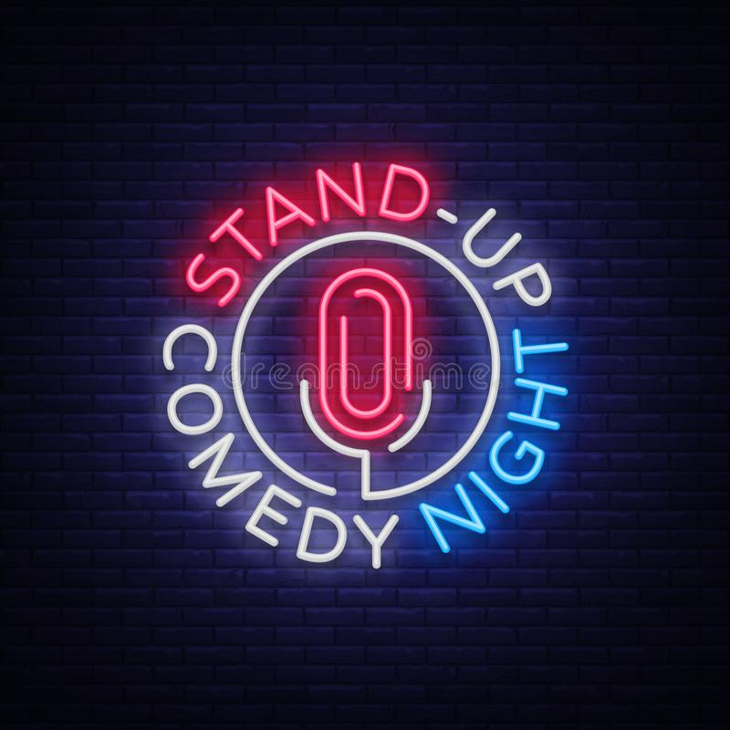 Стойте вверх комедия неоновая вывеска Неоновый логотип, символ, яркое светящее знамя, плакат неон-стиля, яркое ночное время иллюстрация вектора