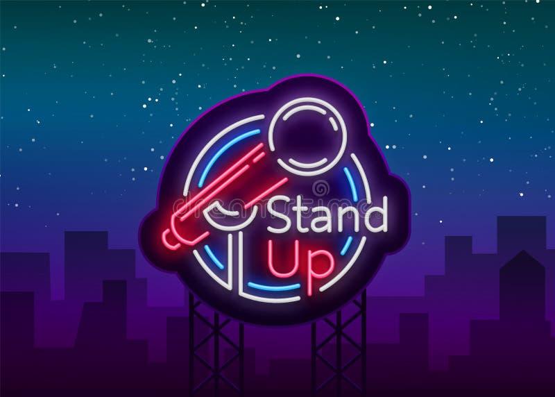 Стойте вверх комедия неоновая вывеска Неоновый логотип, символ, яркое светящее знамя, плакат неон-стиля, яркое ночное время иллюстрация штока