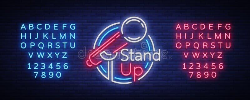 Стойте вверх комедия неоновая вывеска Неоновый логотип, яркое светящее знамя, неоновый плакат, яркая ночная реклама иллюстрация штока