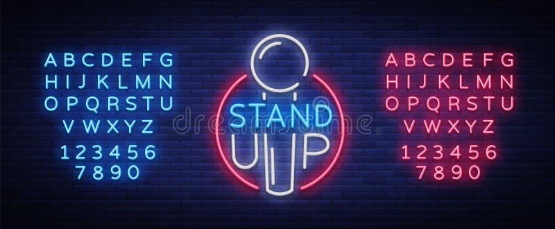 Стойте вверх логотип в неоновом стиле Комедия неоновая вывеска, символ, приглашение к представлению комедии, яркое знамя иллюстрация штока