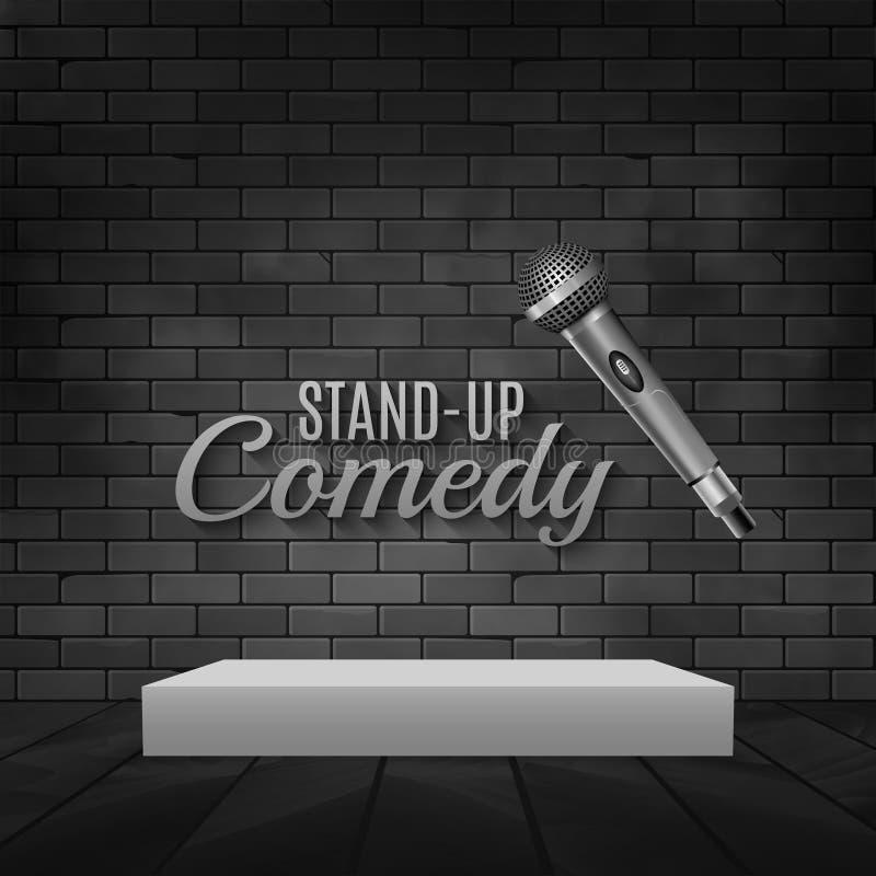 Стойте вверх плакат события комедии Иллюстрация микрофона вектора Комедия концерта с этапом иллюстрация вектора