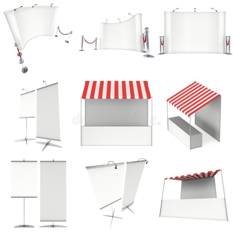 Стойл киоска стойки рынка с striped тентом для продажи продвижения бесплатная иллюстрация