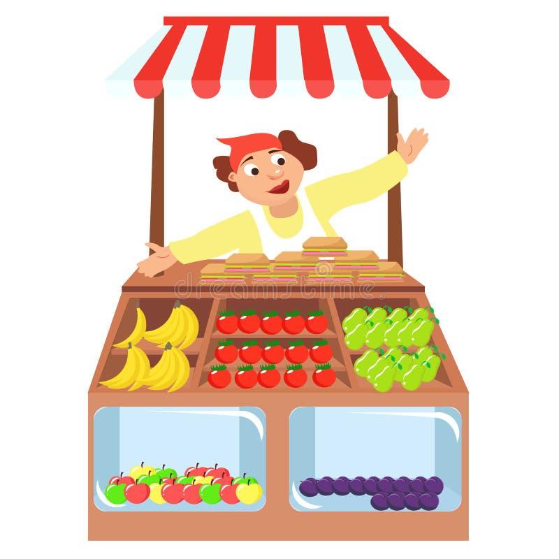 Стойл магазина овощей, рынок фермеров, иллюстрация вектора