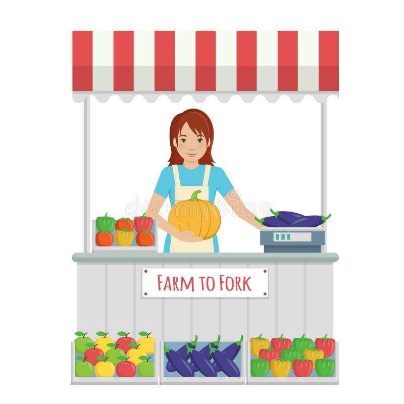 Стойл рынка фермера с фруктом и овощем иллюстрация вектора