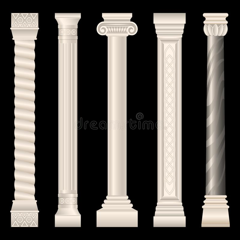 Столбцы в античном стиле, барокк, штукатурке, мраморе иллюстрация штока